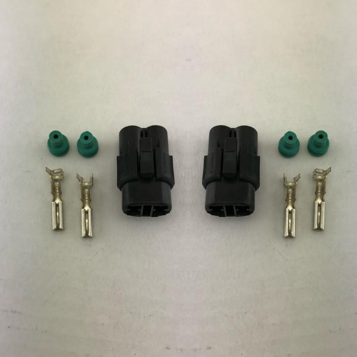 Wasserdichter 2er Stecker | weiblich | schwarz | Paar | Steckersatz ist mit Dichtungen und Pins