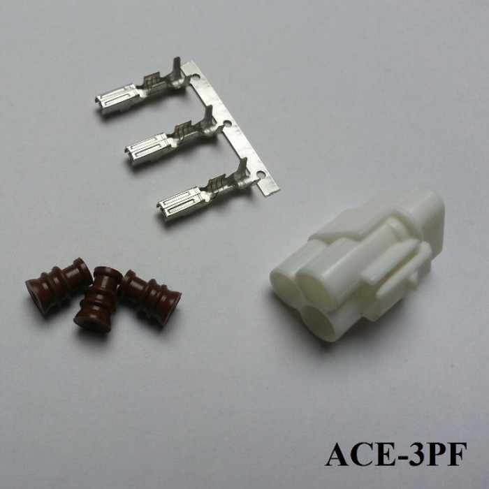Wasserdichter 3er Stecker ACEWELL, weiblich, weiss +++ Steckersatz ist mit Dichtungen und Pins +++