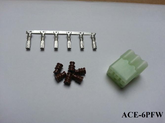Wasserdichter 6er Stecker ACEWELL, männlich, weiss +++ Steckersatz ist mit Dichtungen und Pins +++