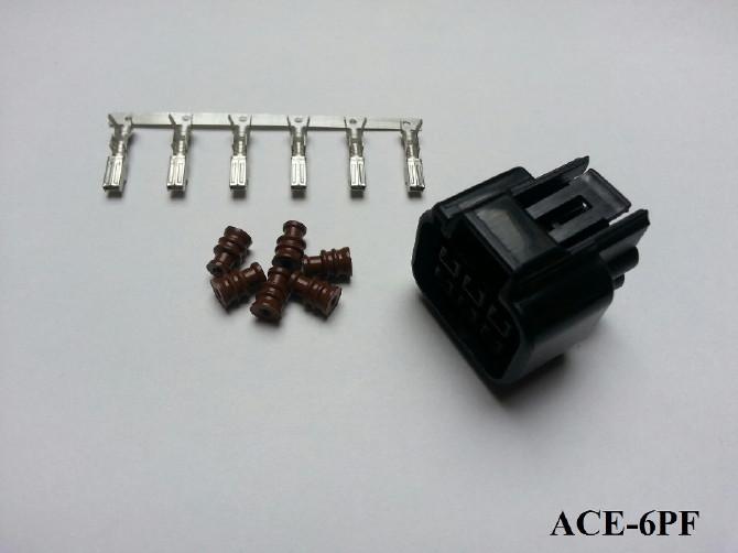 Wasserdichter 6er Stecker ACEWELL, weiblich, schw. +++ Steckersatz ist mit Dichtungen und Pins +++