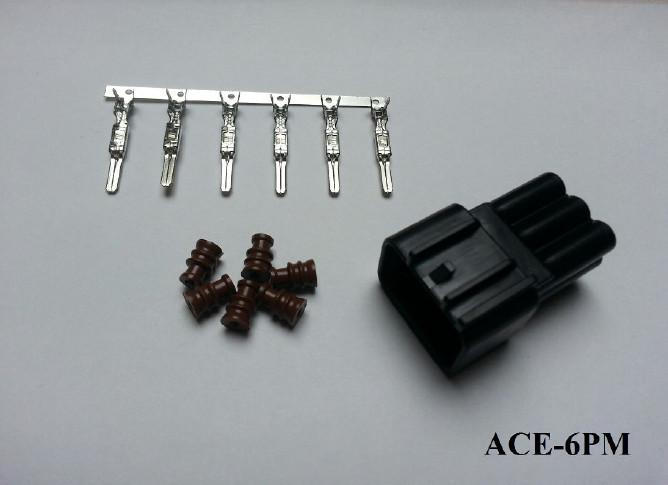 Wasserdichter 6er Stecker ACEWELL, männlich, schw. +++ Steckersatz ist mit Dichtungen und Pins +++