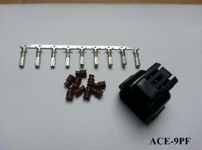 Wasserdichter 9er Stecker ACEWELL, weiblich, schw. +++ Steckersatz ist mit Dichtungen und Pins +++