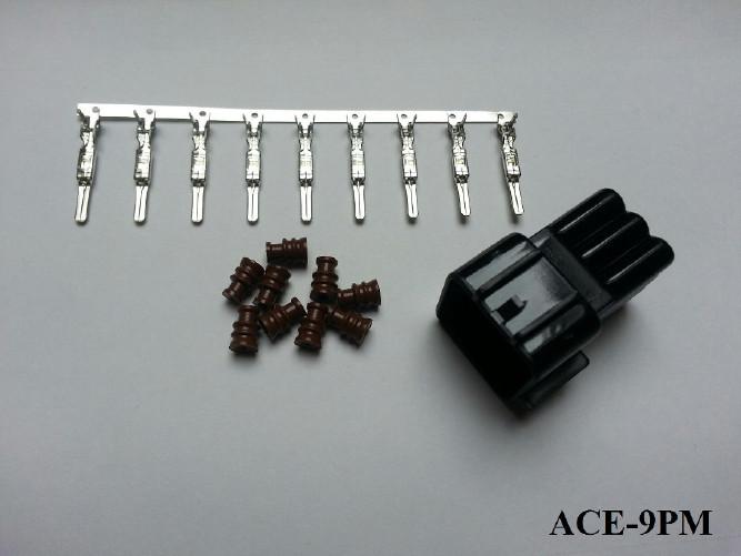 Wasserdichter 9er Stecker ACEWELL, männlich, schw. +++ Steckersatz ist mit Dichtungen und Pins +++