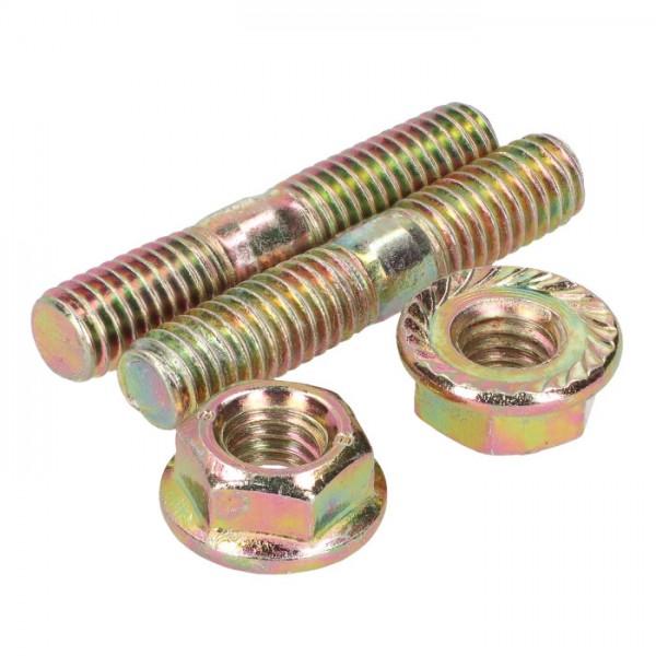 Auspuff Stehbolzen Set inkl. Muttern - M6x32mm Set mit 2 x M6 Bolzen und 2 x M6 Muttern