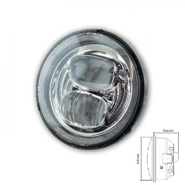 """LED-Scheinwerfereinsatz 5-3/4""""   """"Pearl""""   chrom   Ø=143mm   Klarglas   E-geprüft"""
