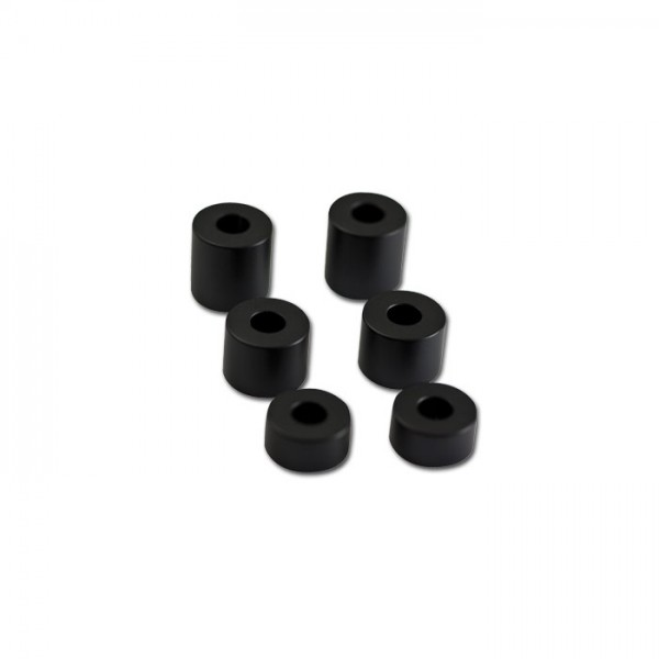 Aluminium-Abstandshalter-Set, schwarz, 6-teilig, Ø innen 8mm Ø außen 20mm je 2 x H 10/15/20 mm