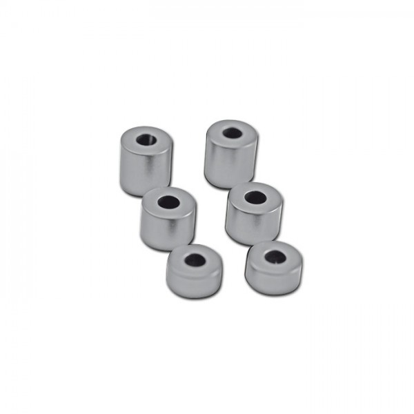 Aluminium-Abstandshalter-Set, chrom, 6-teilig, Ø innen 8mm Ø außen 20mm je 2 x H 10/15/20 mm