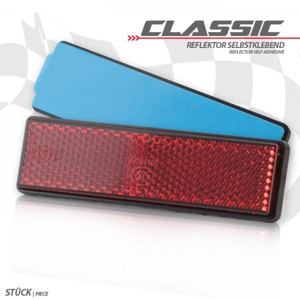 "Reflektor ""Classic"", rechteckig, rot, mit Rand, Maße: 90 x 25 mm, selbstklebend, E-geprüft"