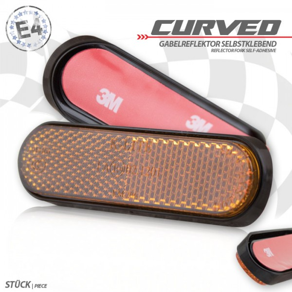 "Gabelklebereflektor ""Curved"", abgerundet, gelb, Ø 50mm, 90 x 24 x 8mm, selbstklebend, E-geprüft"
