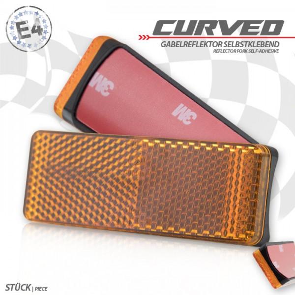 "Gabelklebereflektor ""Curved"", gelb, rechteckig, Ø -60mm, 85 x 31 x 13mm, selbstklebend, E-geprüft"