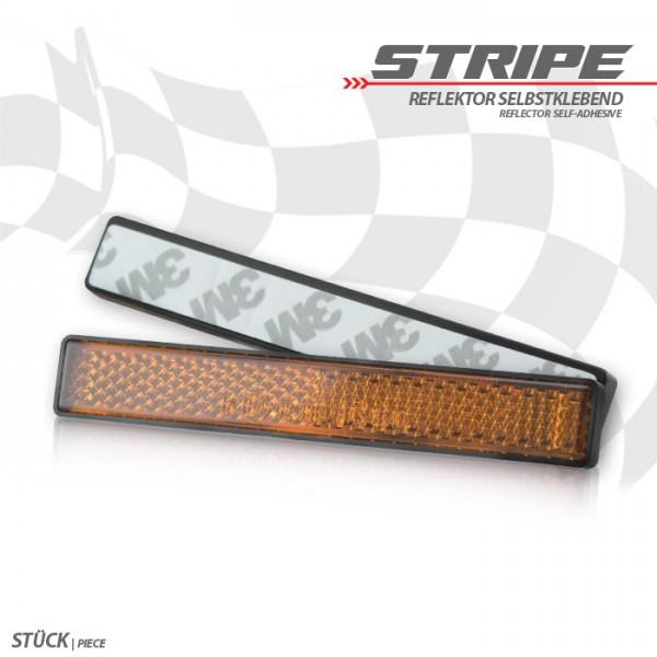 """Reflektor """"Stripe"""", rechteckig, gelb, mit Rand, Maße: 102,5 x 15,3 x 7mm, selbstklebend, E-geprüft"""
