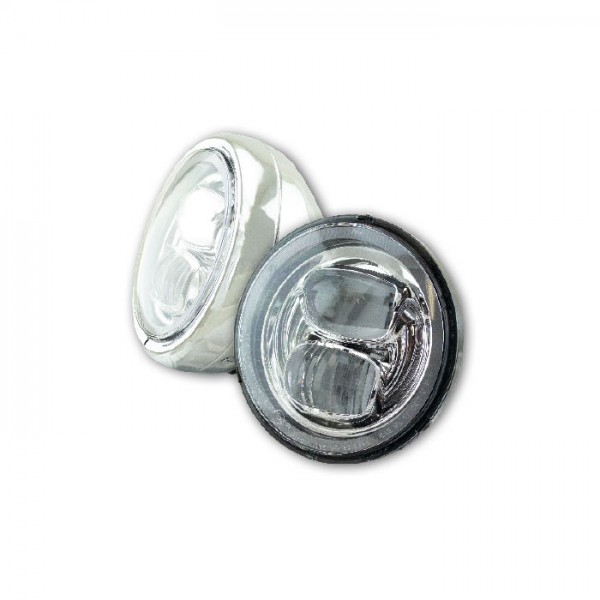 "LED-Scheinwerfer 5-3/4"" | ""Pearl"" | Chrom | Befestigung M8 seitlich | Glas Ø=145mm | E-geprüft"