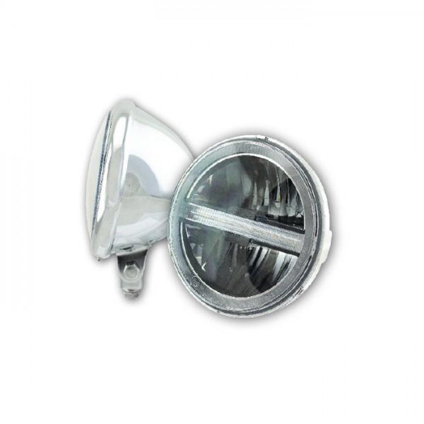 """LED-Scheinwerfer 5-3/4""""   """"Horizon""""   Chrom   M10 untere Befestigung   Glas Ø=145mm   E-geprüft"""