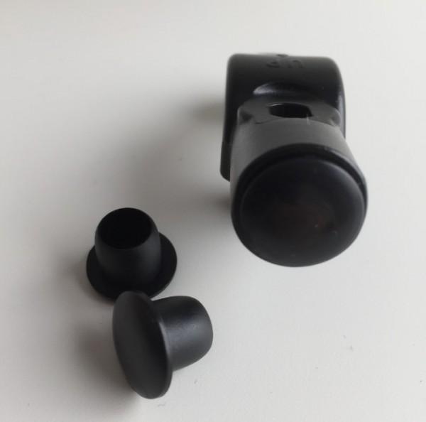 Spiegelloch-Abdeckung 10mm, Kunststoff, schwarz, Paar