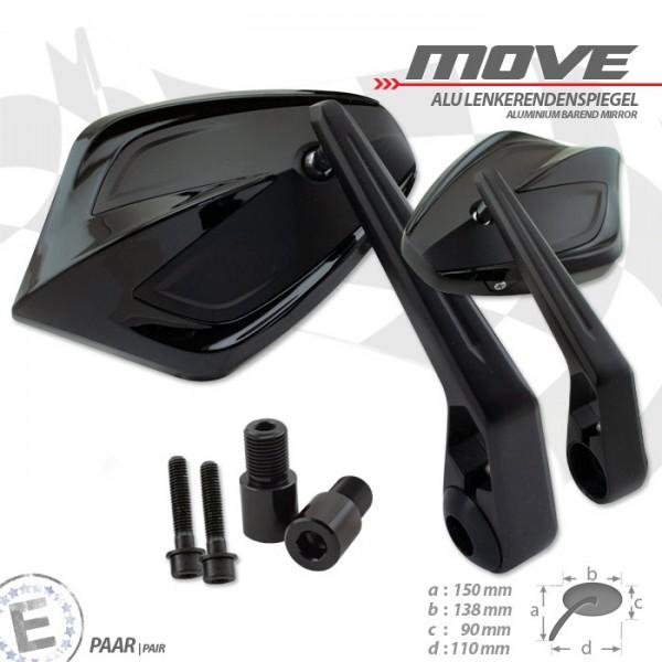 Lenkerendenspiegel MOVE | Schwarz | M16 Yamaha | Alu | Paar | inkl. Lenkergewichte