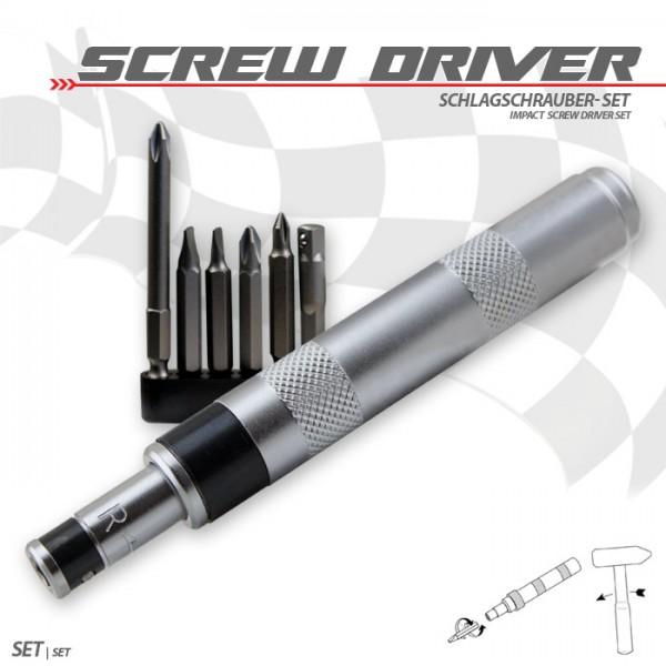 Schlagschrauber-Set Mini, 7-teilig, PH1 / PH2 x 50/75 mm, Schlitz 4 und 6 x 50 mm