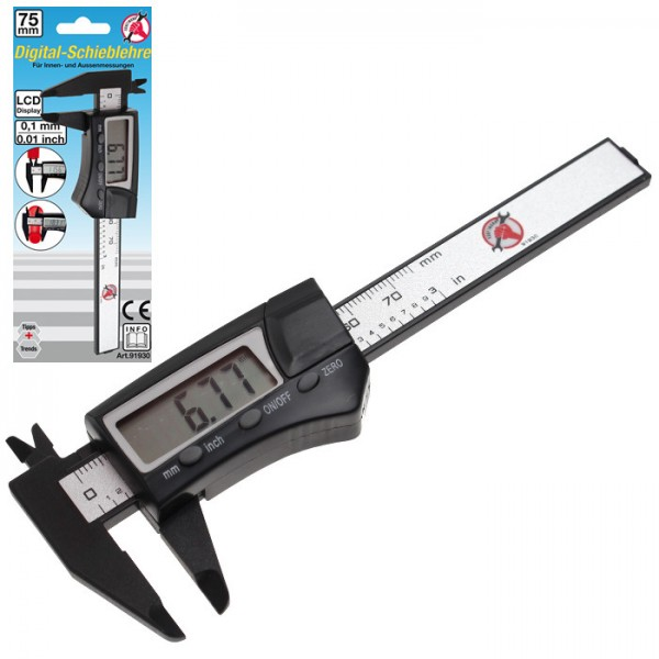 Digital- Messschieber | 75 mm, Kunststoff, Messbereich: 0 - 75 mm