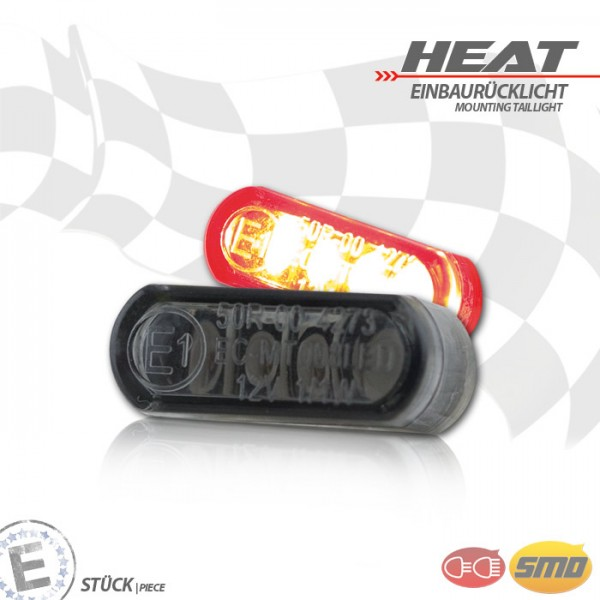 LED-Einbaurücklicht | Heat | getönt | Stck | Maße: B 21,5 x H 8,5 x T 11,5 mm, E-geprüft