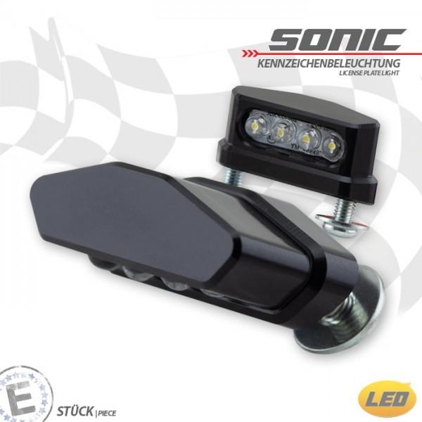 LED-Kennzeichenbeleuchtung | SONIC | Alu | M5 | schwarz | Maße: B 42 x H 15 x T 22 mm