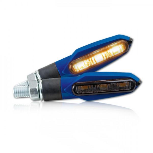 "SMD-Blinker ""Slight"", blau, Blinkfunktion V+ H, getönt, M8, L51 x B14 x H21 mm, E-geprüft"