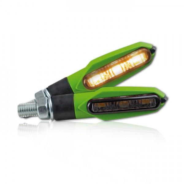 "SMD-Blinker ""Slight"", grün, Blinkfunktion V+ H, getöntes Glas, M8, E-geprüft"