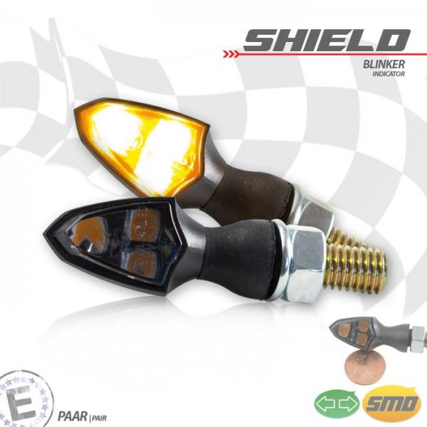SMD-Blinker SHIELD | schwarz | getönt | Paar | M8 | L 26 x B 16 x H 16,5 mm | E-geprüft