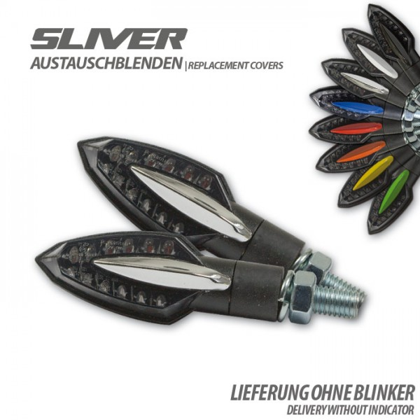 "Blende für LED-Blinker ""Sliver"", chrom, Paar"