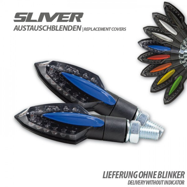 "Blende für LED-Blinker ""Sliver"", blau, Paar"