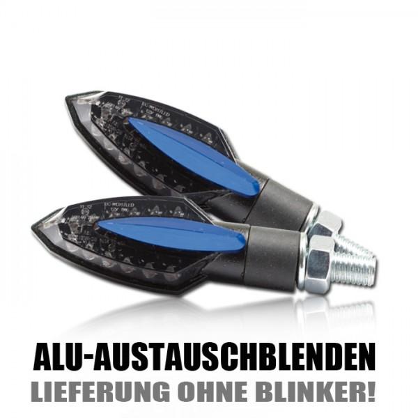 """Blende für SMD-Blinker """"Sliver"""", blau elox, Paar Material: ALU"""