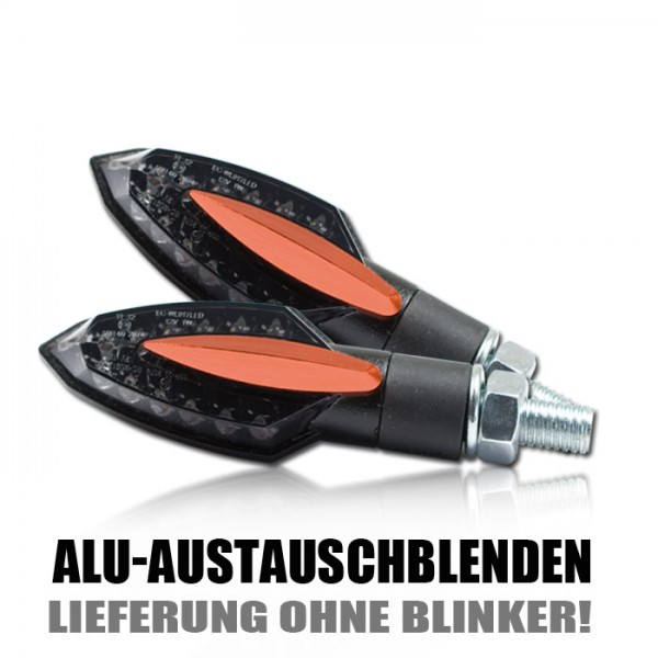 "Blende ALU für LED-Blinker ""Sliver"", orange, Paar"
