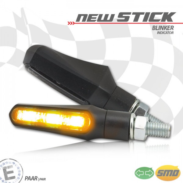 SMD-Blinker New Stick, schwarz, getöntes Glas, Paar, M8, Maße: L 49,5 x B 18 x H 25 mm, E-geprüft