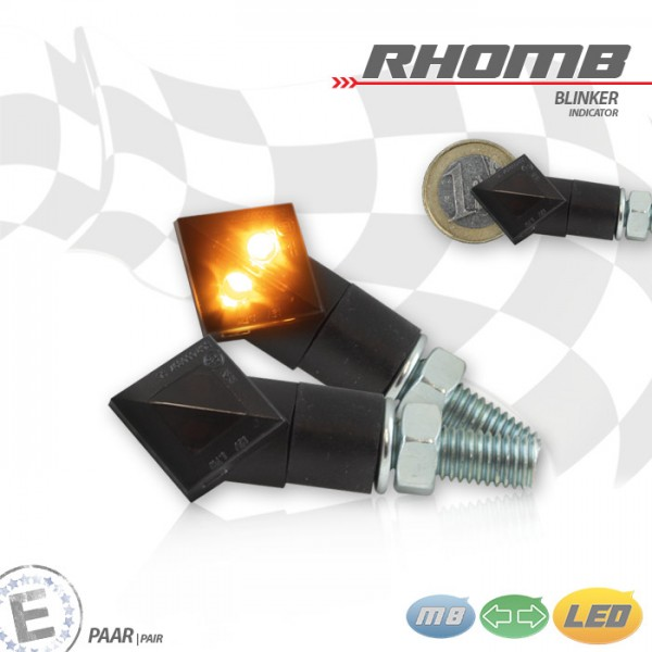 "LED-Blinker ""Rhomb"" | Schwarz | Alu | Getönt | Paar | M8 | Maße: L:59 B:18 H:22 mm | E-gepr."