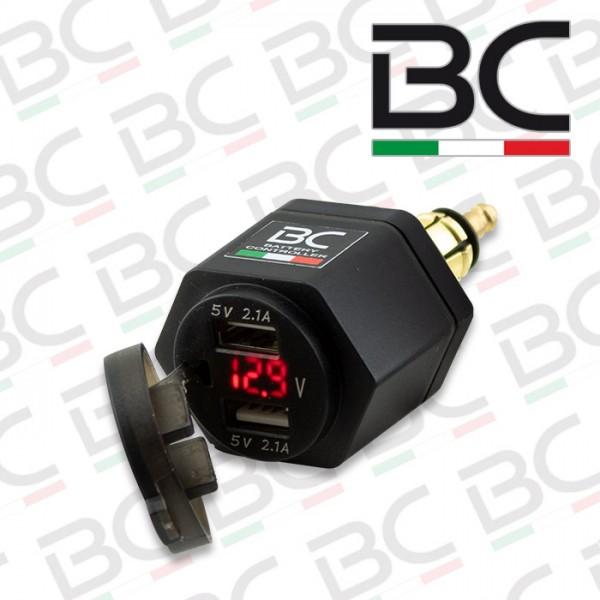 USB-Adapter | 12V-24V | 5V 2x2.1A | Voltanzeige | für BMW 12mm DIN-Steckdose