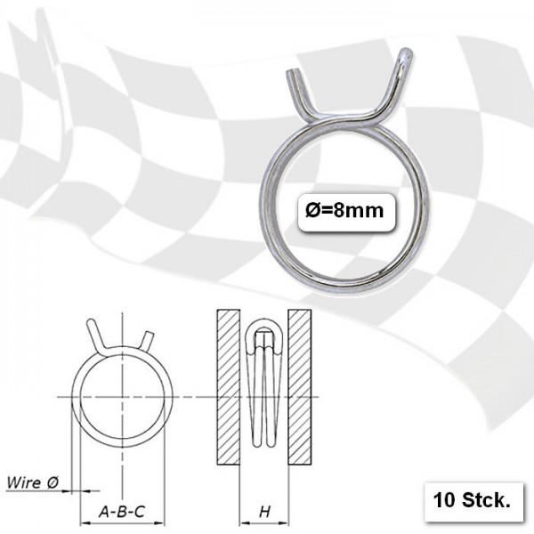 Benzinschlauchklemmen  8mm, stabile Ausführung, VPE = 10 Stück, aus glanzverzinktem Stahl