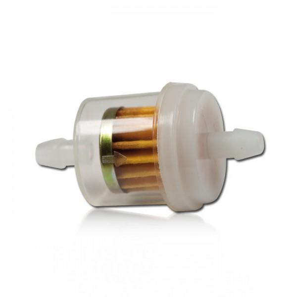 """Benzinfilter 1/4"""" 6mm, Ø=30mm, rund, transparent, Gesamtlänge: 55mm"""
