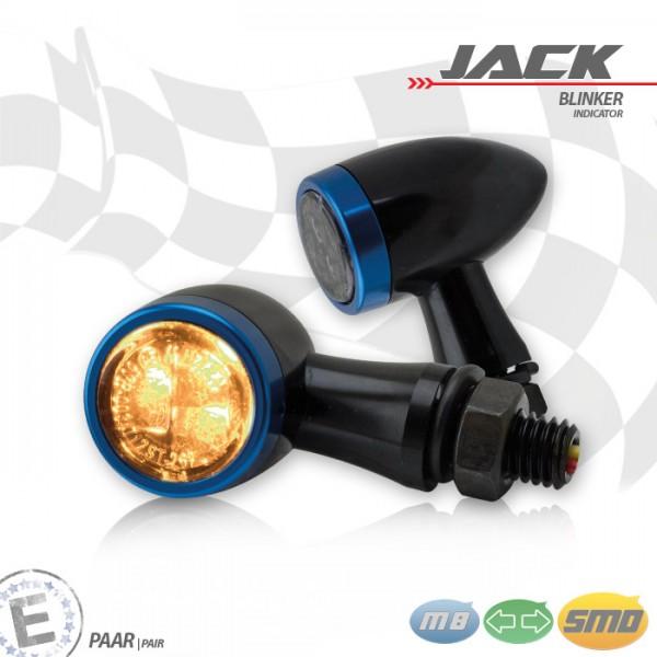 SMD-Blinkerset Jack | schwarz | Zierring blau | M8 | Alu | getönt | Ø 22 x T 37 mm | E-geprüft