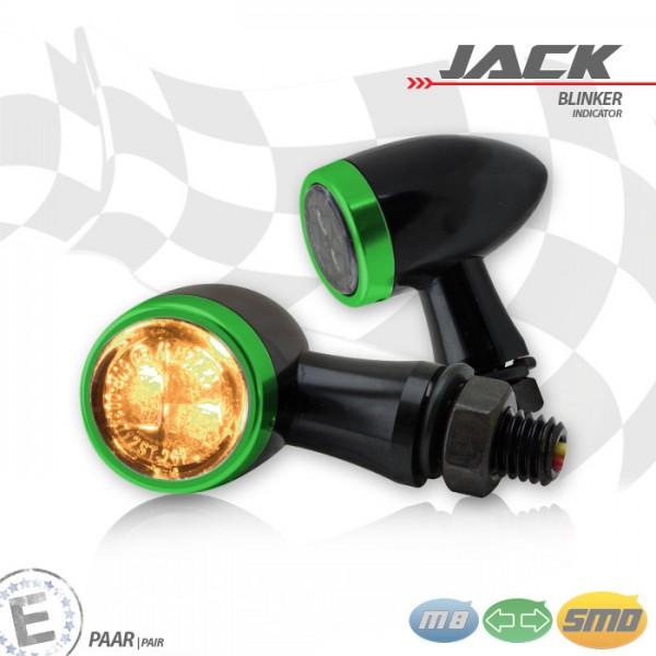 SMD-Blinkerset Jack | schwarz | Zierring grün | M8 | Alu | getönt | Ø 22 x T 37 mm | E-geprüft