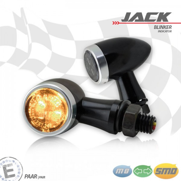 SMD-Blinkerset Jack | schwarz | Zierring silber | M8 | Alu | getönt | Ø 22 x T 37 mm | E-geprüft
