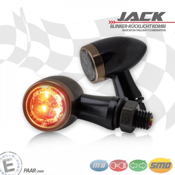 SMD-Blinker/RL-Set Jack | schw | Zierring kupfer | M8 | Alu | getönt | Ø 22 x T 37 mm | E-geprüft