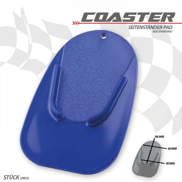 "Seitenständer-Pad ""Coaster"", blau, ABS Maße: L 126 x B 85 x H 5 mm"
