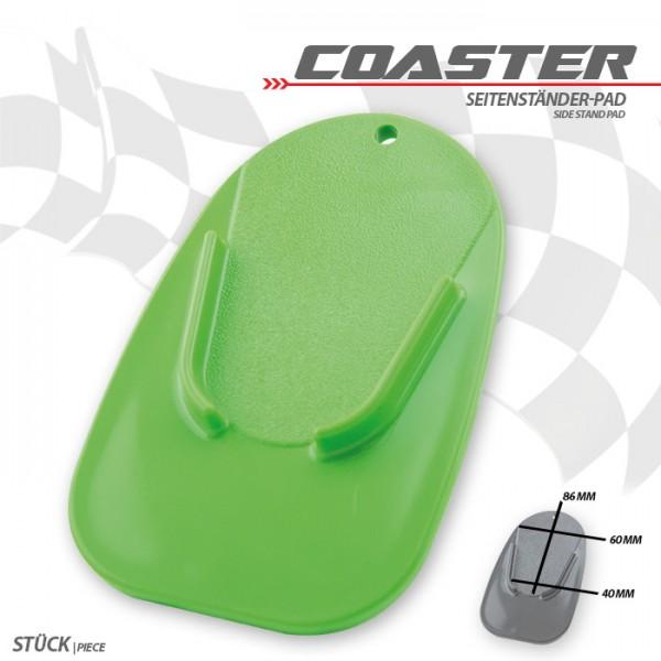 "Seitenständer-Pad ""Coaster"", grün, ABS Maße: L 126 x B 85 x H 5 mm"